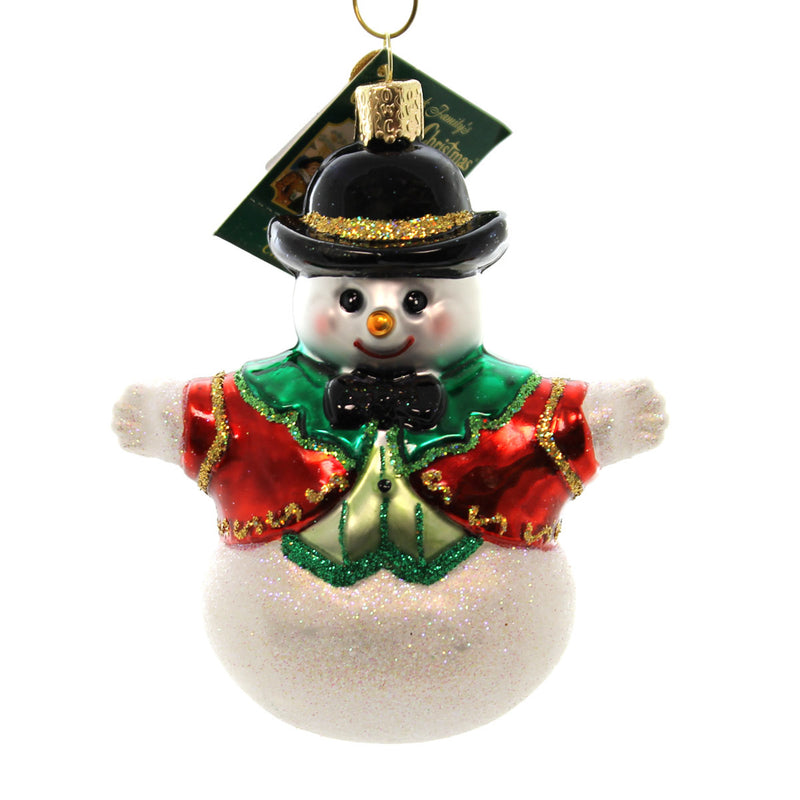 Old World Christmas Bowler Hat Snowboy Glass Ornament