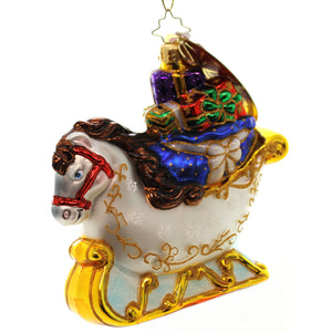 Christopher Radko Equus Sleigh Ride Glass Ornament