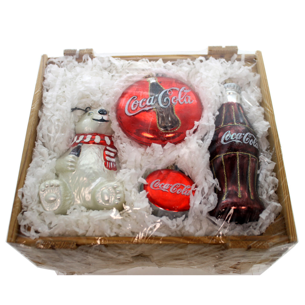 Polonaise Ornaments Always Coca Cola Crate 4 Pc Set Boxed Glass Ornaments