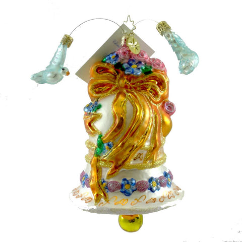 Christopher Radko WEDDED DOVE CHIME Blown Glass Ornament Bell Marriage 2565