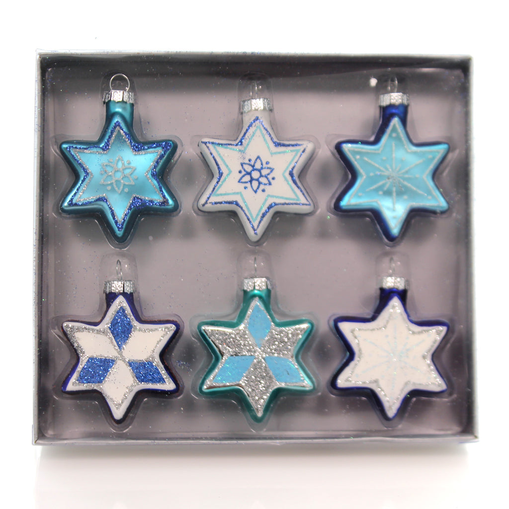 Holiday Ornaments Jewish Star S With Glitter Boxed Glass Ornaments