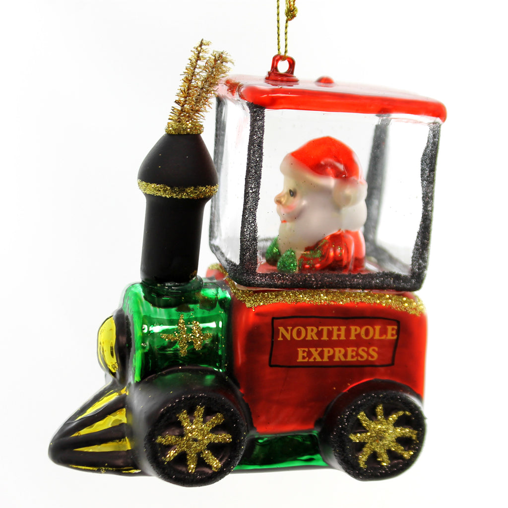 Holiday Ornaments Santa In Train Ornament Glass Ornament