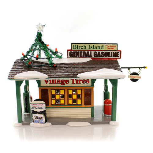 Department 56 House Birch Island Gas Station Village Lighted Building