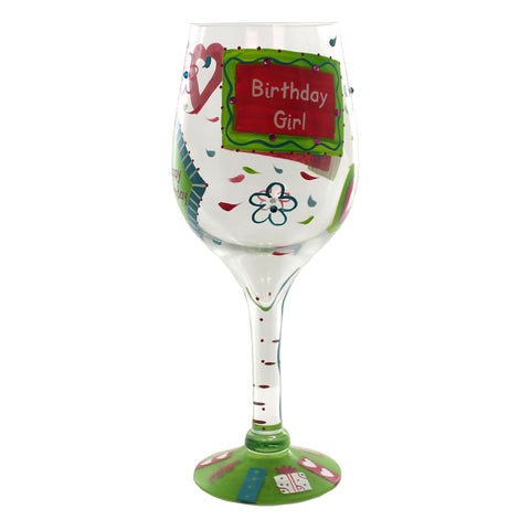 Tabletop GIANT BIRTHDAY GIRL LOLITA WINE GLASS Hand Painted Celebrate Gls195511 26761