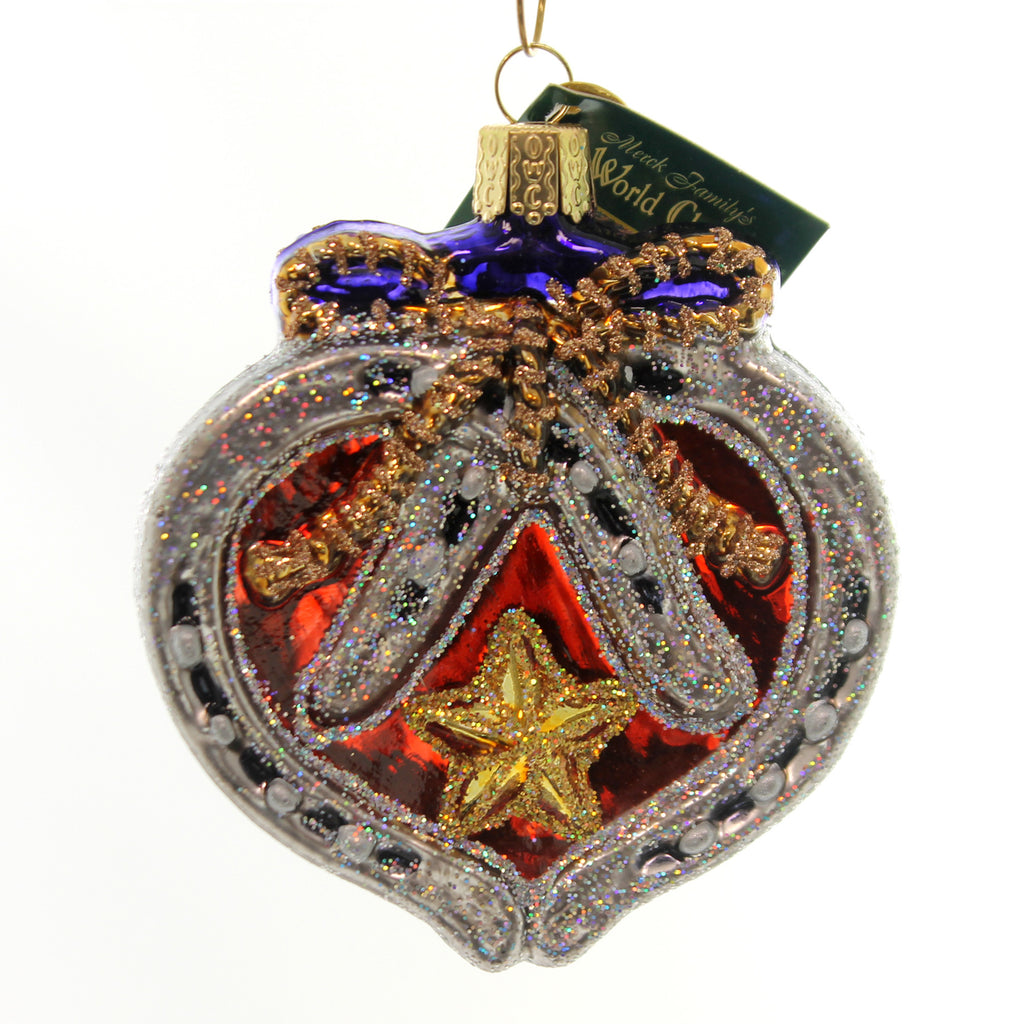 Old World Christmas Western Horseshoe Heart Glass Ornament