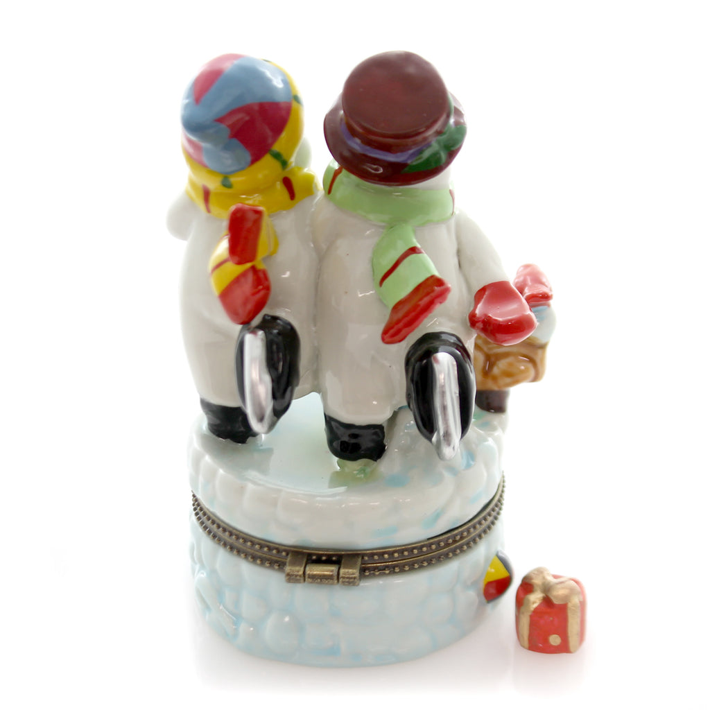 Hinged Trinket Box Two Skating Snowmen Treasure Box