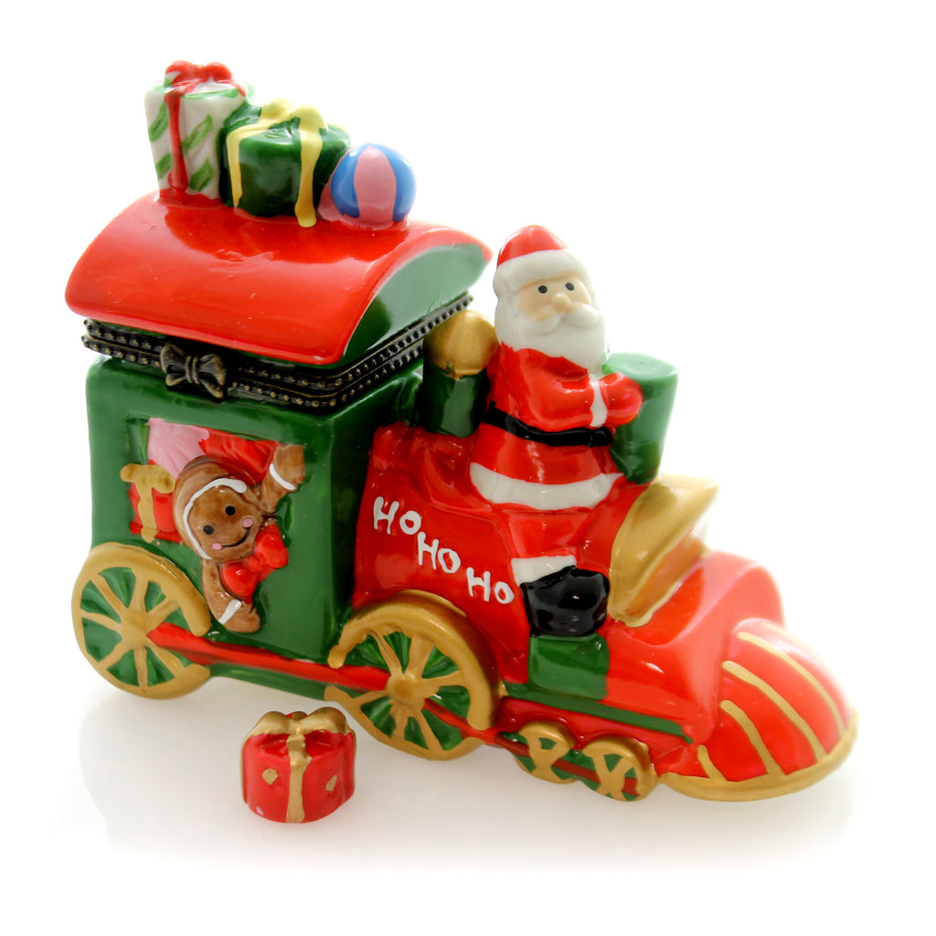 Hinged Trinket Box Santa Train Trinket Box