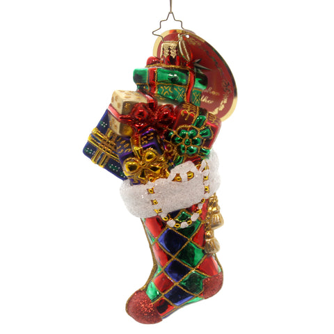 Christopher Radko Harlequin Sock Full Glass Ornament 28116
