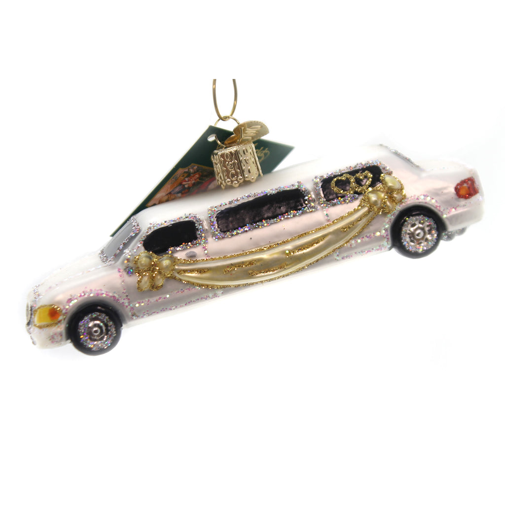Old World Christmas Just Married Limo Glass Ornament