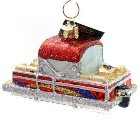 Old World Christmas Pontoon Boat Glass Ornament 28312