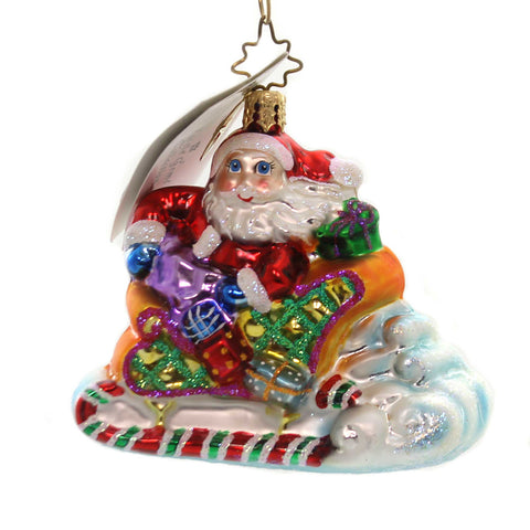 Christopher Radko SLEIGHFUL SANTA GEM Glass Christmas Little Gem 1010138 28511