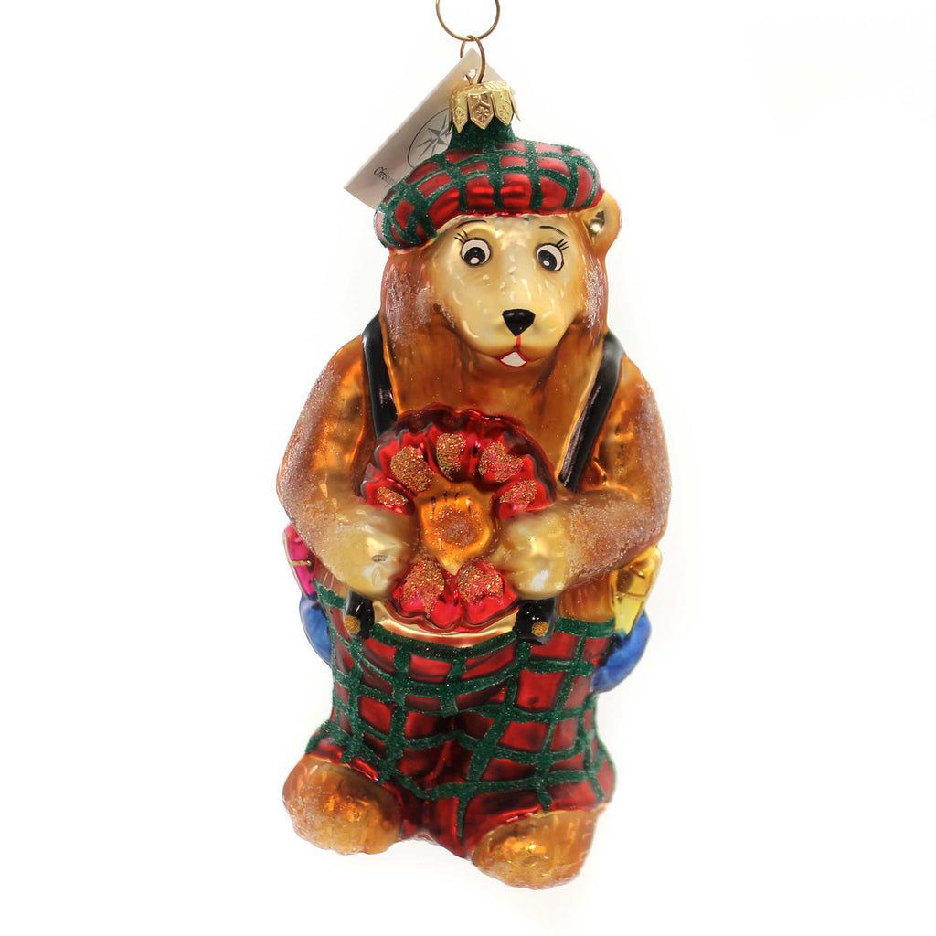 Christopher Radko BEARING HEARTS Glass Teddy Bear Christmas 981160