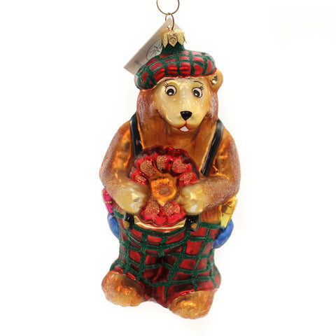 Christopher Radko BEARING HEARTS Glass Teddy Bear Christmas 981160 28568