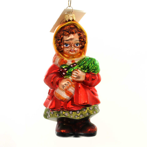 Christopher Radko EVERGREEN TIME Glass Girl Christmas 982190 Holly 28580