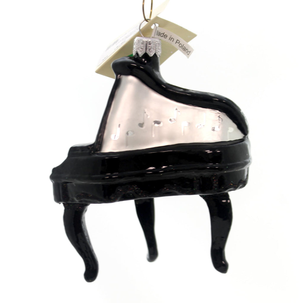 Tannenbaum Treasures Black Piano Glass Ornament
