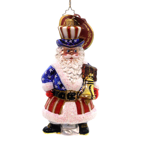 Christopher Radko TIS OF THEE Glass Freedom Bell Uncle Sam Santa 1018273 28961