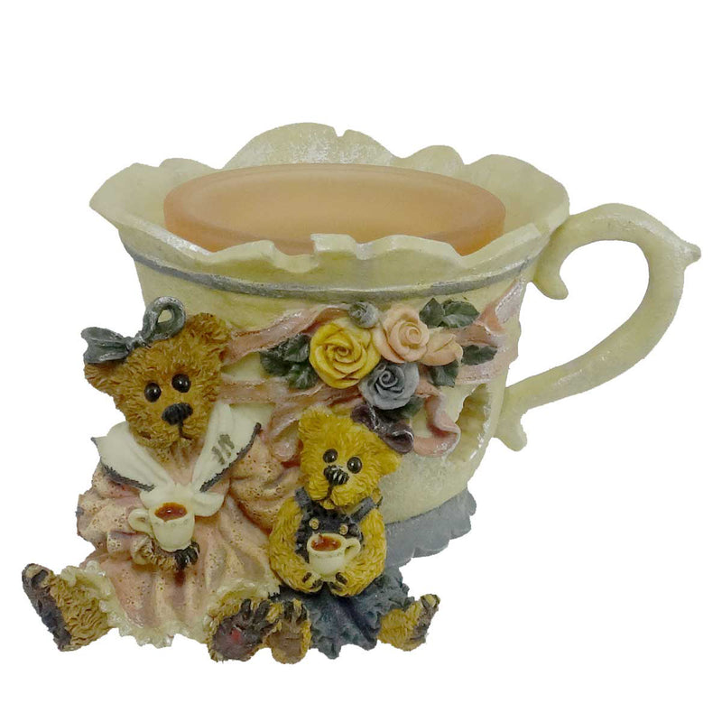 Boyds Bears Resin Ms Bruin & Bailey Tea Time Votive