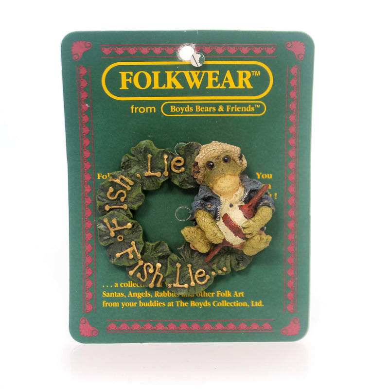 Boyds Bears Resin Frogmorton Fish Lie Fish Pin