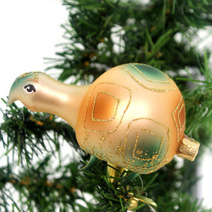 Golden Bell Collection Turtle Clip On Glass Ornament