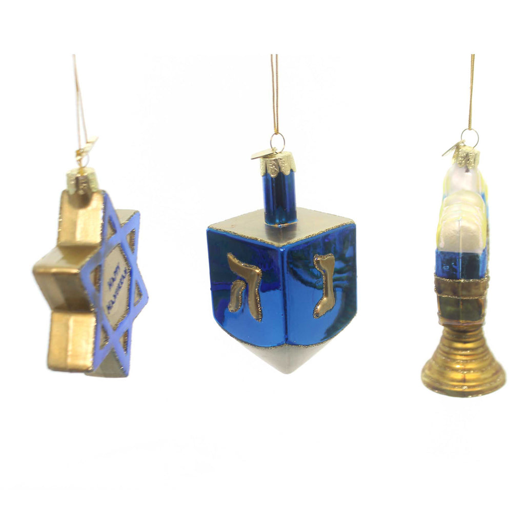 Noble Gems Hanukkah Ornament Set/3 Glass Ornament Set