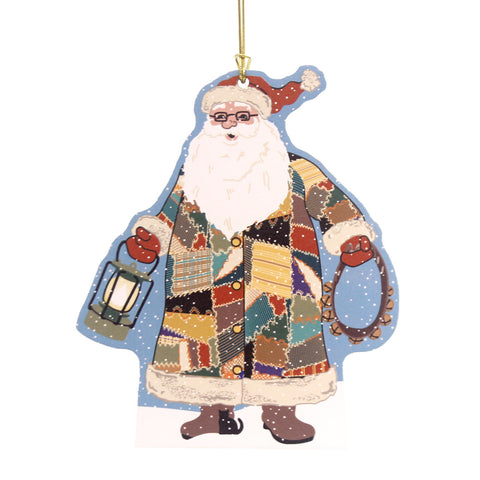 Cats Meow Village 2016 Quilted Santa Ornament Christmas Decor 31334
