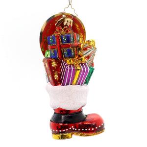 Christopher Radko Christmas Loot Boot Glass Ornament