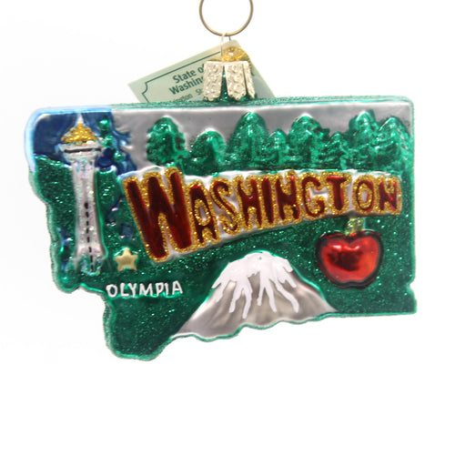 Old World Christmas State Of Washington Glass Ornament