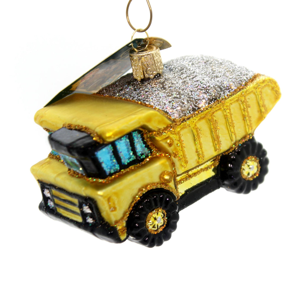 Old World Christmas Toy Dump Truck Glass Ornament