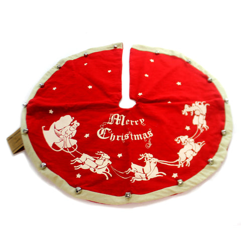 Christmas VINTAGE TREE SKIRT SMALL Fabric Bells Christmas 16556 31762