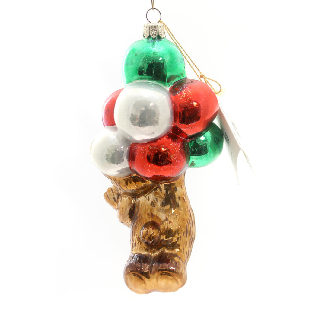 Polonaise Ornament Bear With Balloons Glass Ornament
