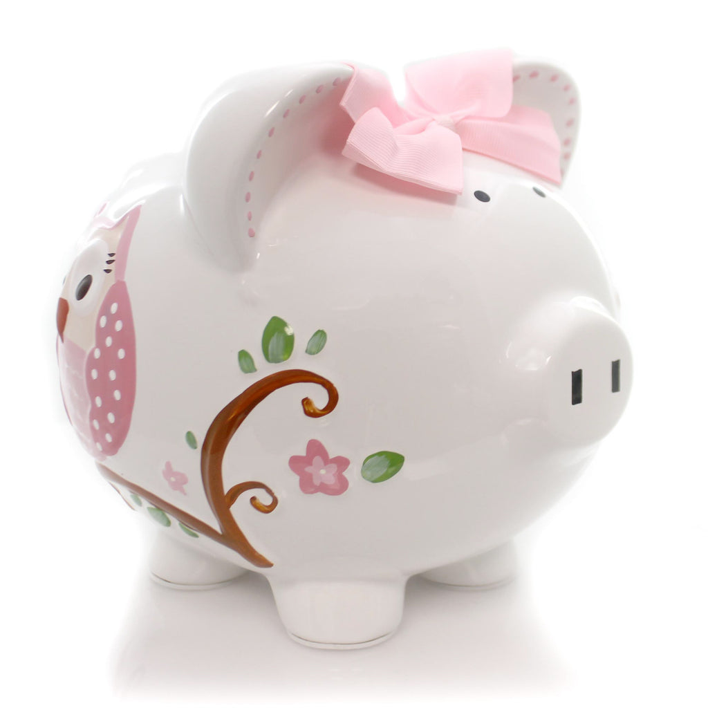Bank Pink Dotted Owl Piggy Bank Bank