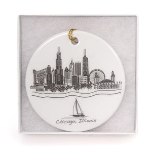 Holiday Ornaments Chicago Flat Ornament Glass Ornament