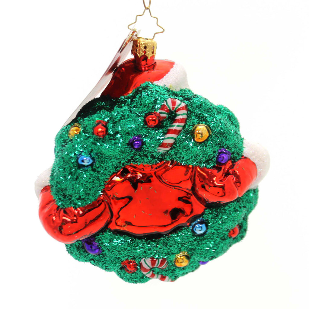 Christopher Radko Santa's Stellar Wreath! Glass Ornament