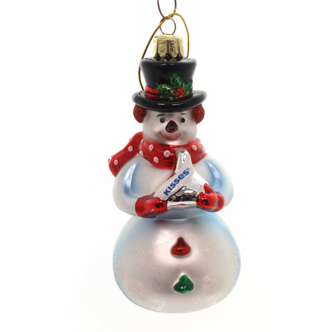 Holiday Ornaments Snowman With Hershey Kiss Glass Ornament 33584
