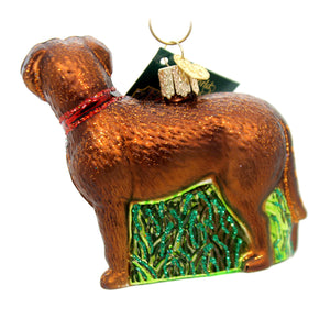 Old World Christmas Standing Chocolate Lab Glass Ornament
