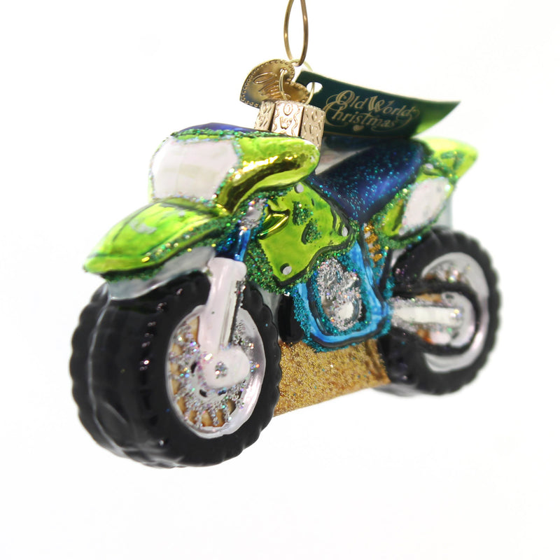 Old World Christmas Motocross Bike Glass Ornament
