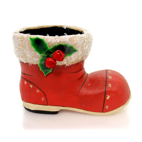 Christmas LITTLE RETRO SANTA BOOT Paper Claus Shoe Holly Tj6245 33798