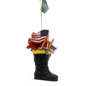 Holiday Ornaments Fireman Boot Resin Ornament