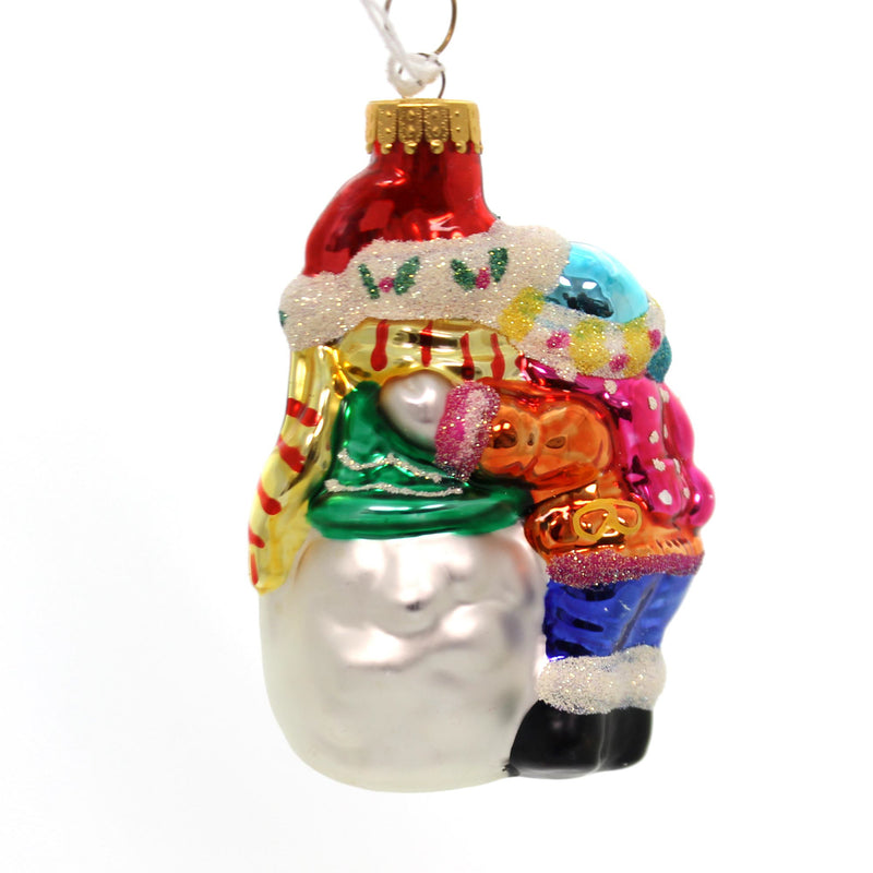 Holiday Ornaments Snow Couple Glass Ornament
