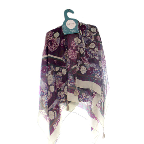Apparel Ds Tasseled Kimono Purple Paisley Apparel 34041