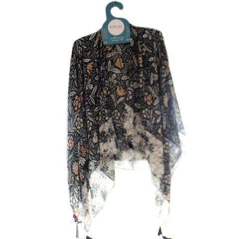 Apparel Brown Cream Odette Floral Tasselled Kimono Apparel 34045