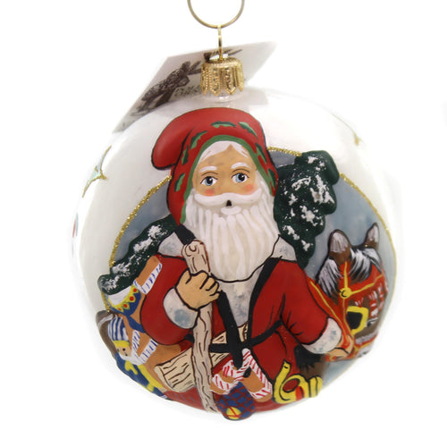 Vaillancourt Santa With Christmas Donkey Glass Ornament