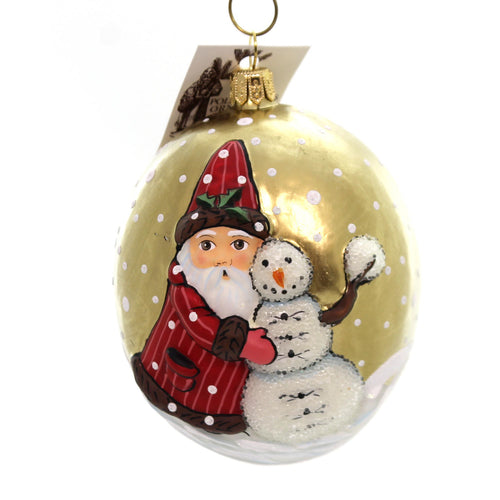 Vaillancourt Santa With Snowman Glass Ornament