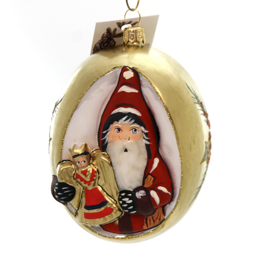 Vaillancourt Santa With Nürnberg Angel Glass Ornament