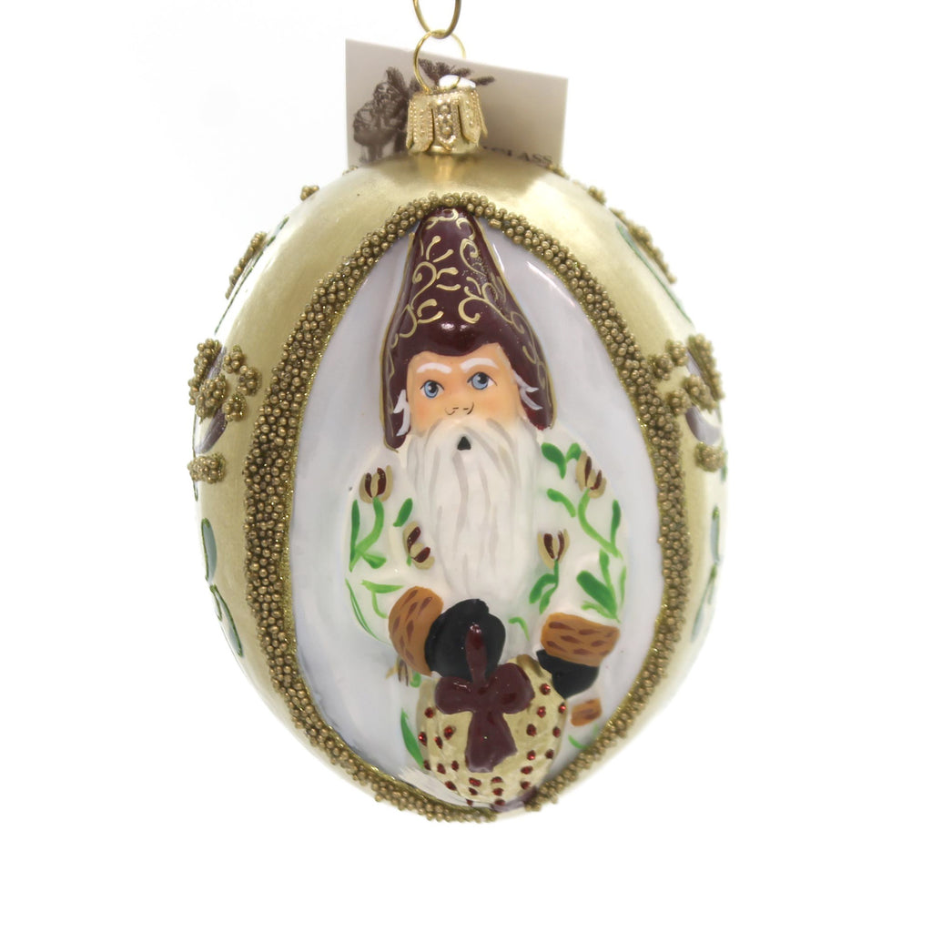 Vaillancourt Santa With Kissing Ball Glass Ornament