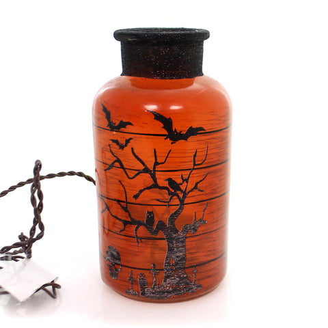Stony Creek HALLOWEEN LIT JAR Glass Bats Spiders Haunted Hlw7219 Bats 34225