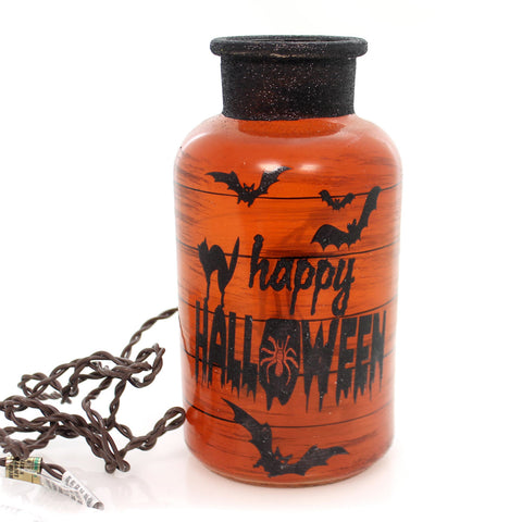 Stony Creek HALLOWEEN LIT JAR Glass Bats Spiders Haunted Hlw7219 Cat 34226