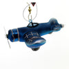 Holiday Ornaments Blue Fighter Plane Glass Ornament