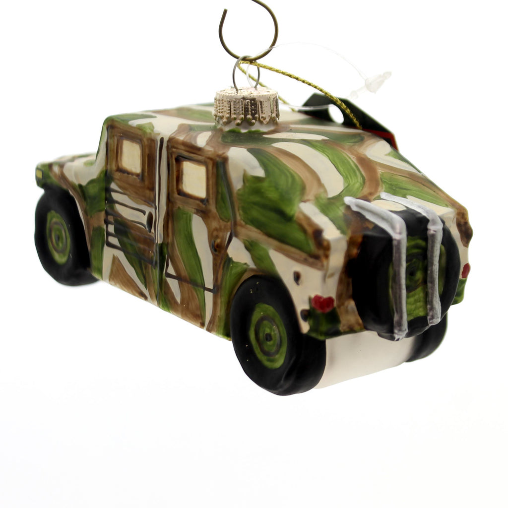 Holiday Ornaments Army Military Humvee Glass Ornament