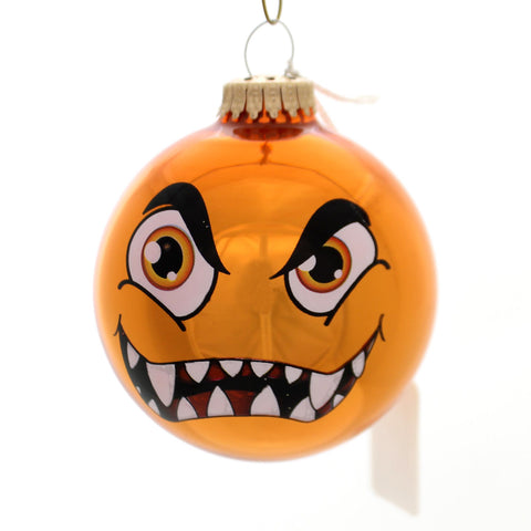 Holiday Ornaments MONSTER FACES BALL ORNAMENT Glass Halloween 710002A Orange 34262